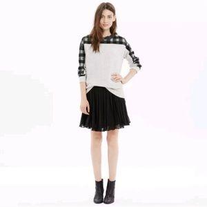 Madewell Black Georgette Pleated Flowy Mini Skirt